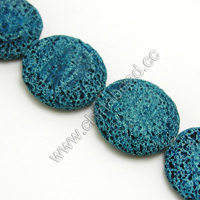 Gemstone Beads, Lava Rock, Ocean blue, Flat round or disc, Approx 25x7mm, Hole: Approx 1.5mm, 22 pcs per strand, Sold by strands