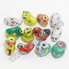 Porcelain animal beads, Mix colors, Chinese Zodiac, Animals, Size M, Approx 15mm, Hole: Approx 2mm, Sold by sets