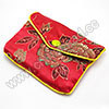 Jewelry Packaging, Brocade Gift Pouch, Red color with peony pattern, Approx 70x2.5x90mm, Sold by PCS