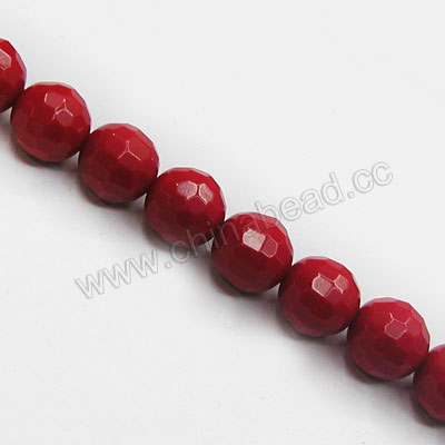 Gemstone Beads, Imit. Red Coral, Faceted round, Approx 6mm, Hole: Approx 1mm, Sold by strands