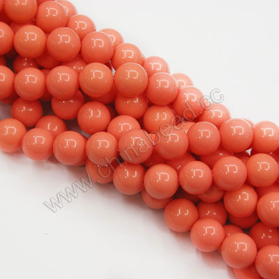 Gemstone Beads, Imit. Coral, Smooth round, Approx 10mm, Hole: Approx 1mm, Sold by strands