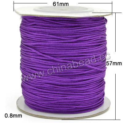 Cord Thread & Wire, Braided cord, Violet, Approx 0.8mm, 100 yards per spool, Sold by spools