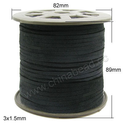 Cord Thread & Wire, Faux Suede Lace, Color #32 black, Approx 3x1.5mm, 100 yards per spool, Sold by spools
