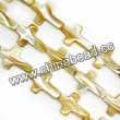 Shell Beads, Mother of pearl, Beige, Cross, Approx 13x18x4mm, Hole:Approx 1mm, Sold per 16-inch strand
