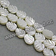 Shell Beads, Mother of pearl, Cream white, Leaf, Approx 6x8x3mm, Hole:Approx 1mm, Sold per 16-inch strand