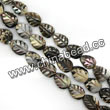 Shell Beads, Mother of pearl, Dk brown/coffee, Leaf, Approx 6x8x3mm, Hole:Approx 1mm, Sold per 16-inch strand