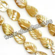 Shell Beads, Mother of pearl, Beige, Leaf, Approx 8x12x3mm, Hole:Approx 1mm, Sold per 16-inch strand