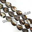 Shell Beads, Mother of pearl, Dk brown/coffee, Leaf, Approx 12x16x4mm, Hole:Approx 1mm, Sold per 16-inch strand