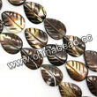 Shell Beads, Mother of pearl, Dk brown/coffee, Leaf, Approx 15x20x4mm, Hole:Approx 1mm, Sold per 16-inch strand