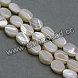 Shell Beads, Mother of pearl, Cream white, Flat oval, Approx 6x8x3mm, Hole:Approx 1mm, Sold per 16-inch strand