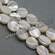 Shell Beads, Mother of pearl, Cream white, Flat oval, Approx 8x10x3mm, Hole:Approx 1mm, Sold per 16-inch strand