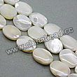 Shell Beads, Mother of pearl, Cream white, Flat oval, Approx 10x14x3mm, Hole:Approx 1mm, Sold per 16-inch strand