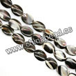 Shell Beads, Mother of pearl, Dk brown/coffee, Flat oval, Approx 10x14x3mm, Hole:Approx 1mm, Sold per 16-inch strand