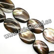 Shell Beads, Mother of pearl, Dk brown/coffee, Flat oval, Approx 22x30x4mm, Hole:Approx 1mm, Sold per 16-inch strand