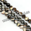 Shell Beads, Mother of pearl, Dk brown/coffee, Disc, Approx 5x4mm, Hole:Approx 1mm, Sold per 16-inch strand