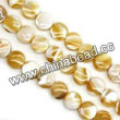 Shell Beads, Mother of pearl, Beige, Disc, Approx 6x4mm, Hole:Approx 1mm, Sold per 16-inch strand