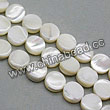 Shell Beads, Mother of pearl, Cream white, Disc, Approx 10x3mm, Hole:Approx 1mm, Sold per 16-inch strand