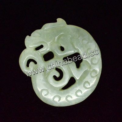 Semi-precious Hsiu Jade Carved Pendant, Light green, Ancient Chinese dragon, Animal, Flat, Approx 61x57x6mm, Sold by pieces
