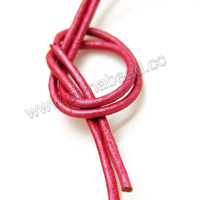 Cord Thread & Wire, Round enamel leather cord, Color #11 dark pink, Approx 2.5mm, 100 meters per bundle, Sold by bundles