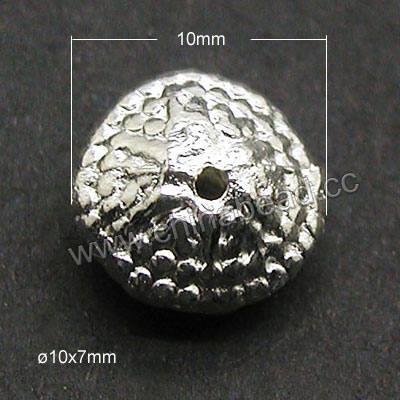 Jewelry findings, Zinc alloy spacer bead in silver plating, Dots pattern, Approx 10x7mm, Lead and cadmium free, Hole: Approx 1.2mm, 500pieces per bag, Sold by bags