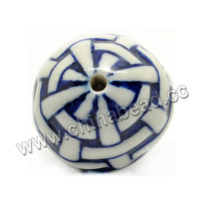 Blue and white porcelain beads, Wool Ball, Round, Approx 24mm, Hole: Approx 2mm, Sold by PCS