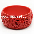 Cinnabar/Lacquer bangles/bracelets, Red, Carved Rose flower, The widest, OD75 x H33 x ID63mm, Sold by PCS