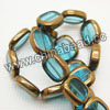 Glass Beads, Hand-cut Crystal, Aquamarine, Flat oval with bronze plated edge, Approx 14x12x4mm, Hole: Approx 0.8mm, 22 pcs per strand, Sold by strands