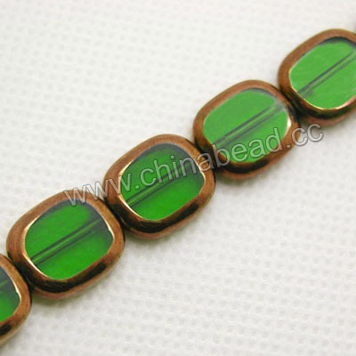 Glass Beads, Hand-cut Crystal, Dark emerald, Flat oval with bronze plated edge, Approx 14x12x4mm, Hole: Approx 0.8mm, 22 pcs per strand, Sold by strands