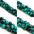 Black Veins Turquoise Beads