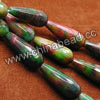 Gemstone Beads, Candy Jade, Color #39 green and red, Faceted teardrop, Approx 11x28mm, Hole: Approx 1.5mm, 14pcs per strand, Sold by strands