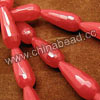 Gemstone Beads, Candy Jade, Color #9 red, Faceted teardrop, Approx 11x28mm, Hole: Approx 1.5mm, 14pcs per strand, Sold by strands