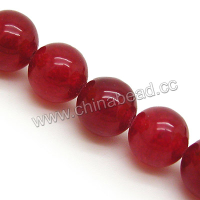 Gemstone Beads, Candy Jade, Color #25 dark red, Smooth round, Approx 14mm, Hole: Approx 1.5mm, 28pcs per strand, Sold by strands