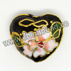 Cloisonne beads, Black, Flower, Heart, 19x21x10mm, Hole:Approx 1-2mm, Sold by PCS