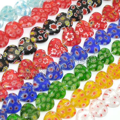Millefiori glass beads, Assorted colors, Smooth heart, Approx 16x16x5mm, Hole: Approx 1mm, 25pcs per strand, Sold by strands