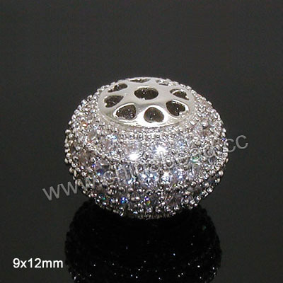 Cubic Zirconia Beads, Brass rondelle in platinum plating with clear tiny CZ stones, Approx 9x12mm, Hole: Approx 1.8mm, 10pcs per bag, Sold by bags