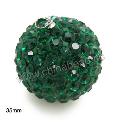 Rhinestone clay pave jewelry pendants, color #6 emerald stones, Round, Approx 35mm, 10pcs per bag, Sold by bags