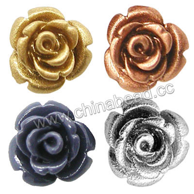 Gemstone Beads, Carved rose flower, Mixed plain colors, Approx 40x25mm, Hole: Approx 1.2mm, 100pcs per bag, Sold by bags