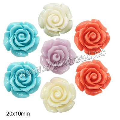 Gemstone Beads, Carved camellia, Mixed plain colors, Approx 20x10mm, Hole: Approx 1mm, 100pcs per bag, Sold by bags