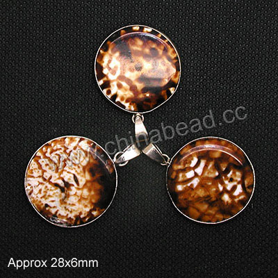 Fashion jewelry pendants, Leopard skin agate with brass metal part in platinum plating, Nice natural pattern, Disc, Approx 28x6mm, 10 pieces per bag, Sold by bags