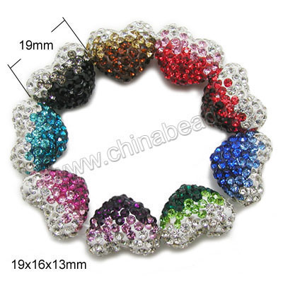 Rhinestone clay pave beads with graduated color stones, Assorted, Heart, Approx 19x16x13mm, Horizontal hole: Approx 1mm, 100pcs per bag, Sold by bags.