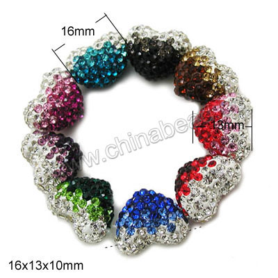 Rhinestone clay pave beads with graduated color stones, Assorted, Heart, Approx 16x13x10mm, Horizontal hole: Approx 1mm, 100pcs per bag, Sold by bags.