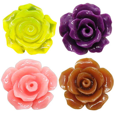 Resin Camellia Beads