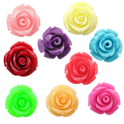 Resin Rose Flower Beads