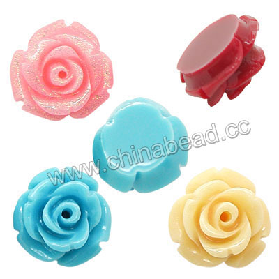 Resin Beads, Rose flower, Mixed colors, Approx 20x11mm, Hole: no hole, 100pcs per bag, Sold by bags