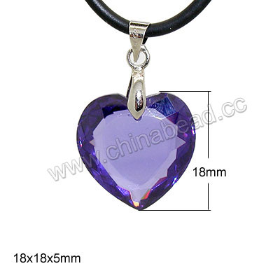 Fashion jewelry pendants, Cubic zirconia heart pendant with brass bail in platinum plating, Tanzanite, Approx 18x18x5mm, 10pcs per bag, Sold by bags