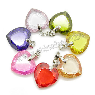 Fashion jewelry pendants, Cubic zirconia heart pendant with brass bail in platinum plating, Assorted colors, Approx 18x18x5mm, 10pcs per bag, Sold by bags
