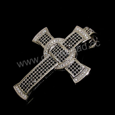 Fashion jewelry pendants, Brass cross in platinum plating with clear and black tiny CZ stones, Approx 44x34x5mm, Bail hole: Approx 5mm, 5pcs per bag, Sold by bags