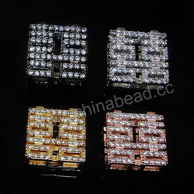 Cubic Zirconia Beads, Brass double-happiness in gunmetal plating with clear tiny CZ stones, Approx 12x12x4.5mm, Hole: Approx 1.8mm, 10pcs per bag, Sold by bags