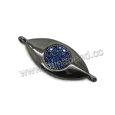 Cubic Zirconia Beads, Brass evil eye connector in gunmetal plating with clear tiny CZ stones, Approx 22x9x3mm, Hole: Approx 1mm, 10pcs per bag, Sold by bags