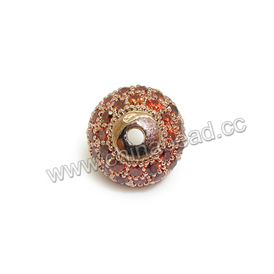 Cubic Zirconia Beads, Brass round in rose gold plating with garnet red tiny CZ stones, Approx 10mm, Hole: Approx 1.5mm, 10pcs per bag, Sold by bags